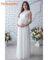 ノースリーブ写真撮影産科レースドレス小道具写真撮影女性のマタニティドレス妊娠中のウェディングパーティードレス[yelaumoky]