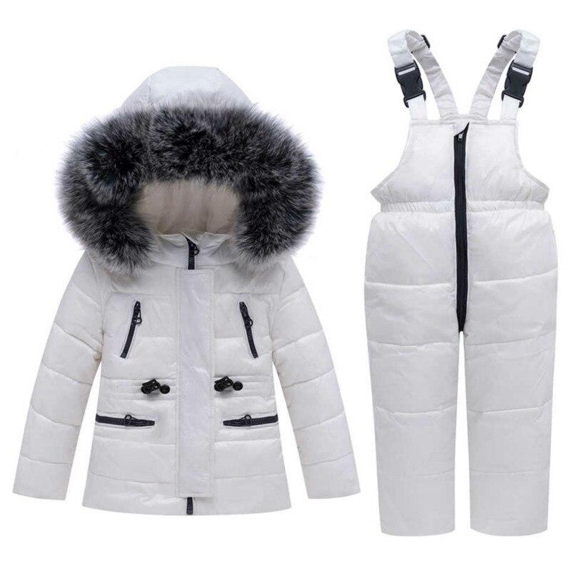 -30 hiver Snowsuit enfants vêtements ensemble bébé garçon blanc canard vers le bas imperméable veste pour fille enfants manteau + bavoir pantalon Enfant Parka