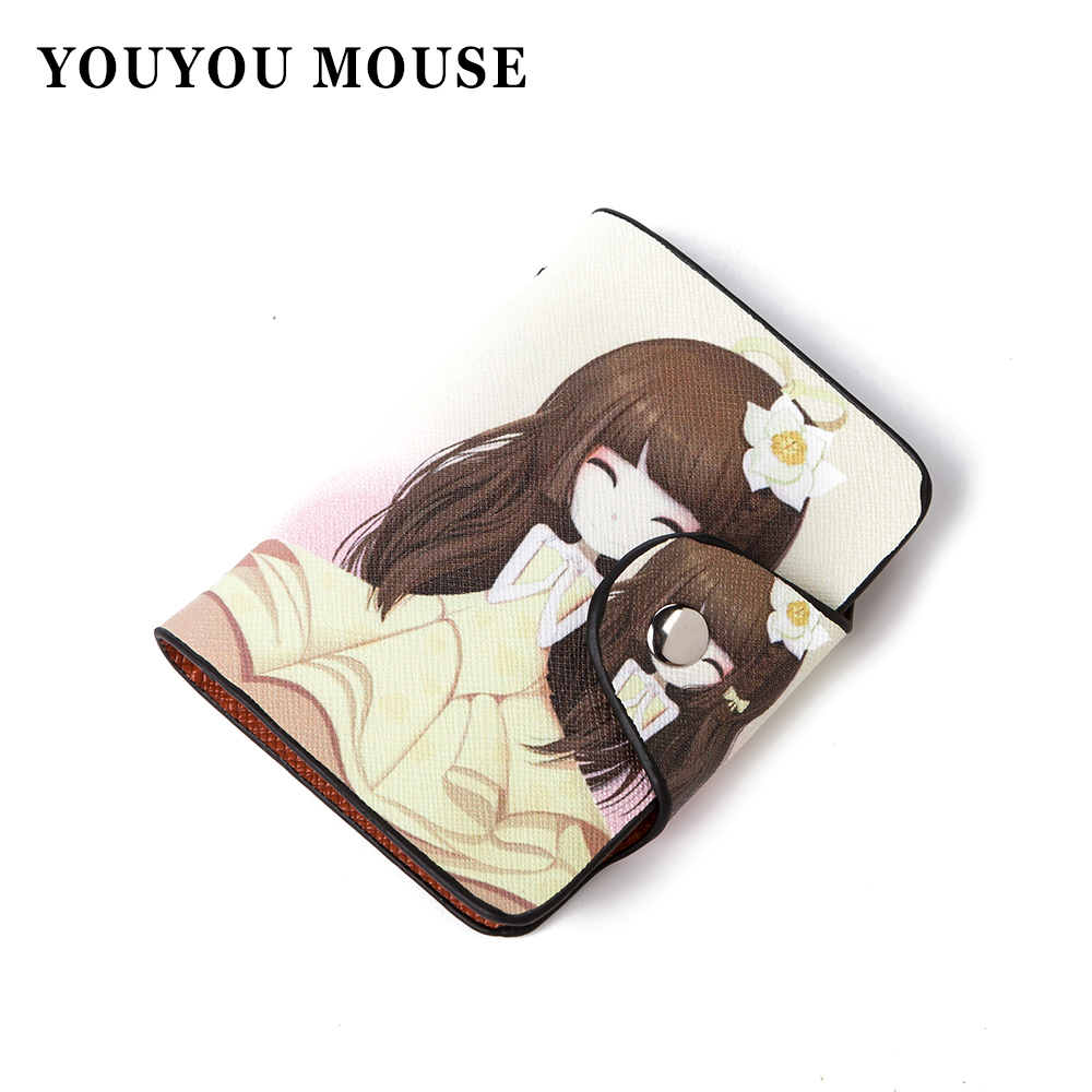 YOUYOU MOUSE Women Fashion Business Credit Card Holder Wallet Cute Creative Paintings Bank Card Bag 26 Slots ID Holder Bag Purse