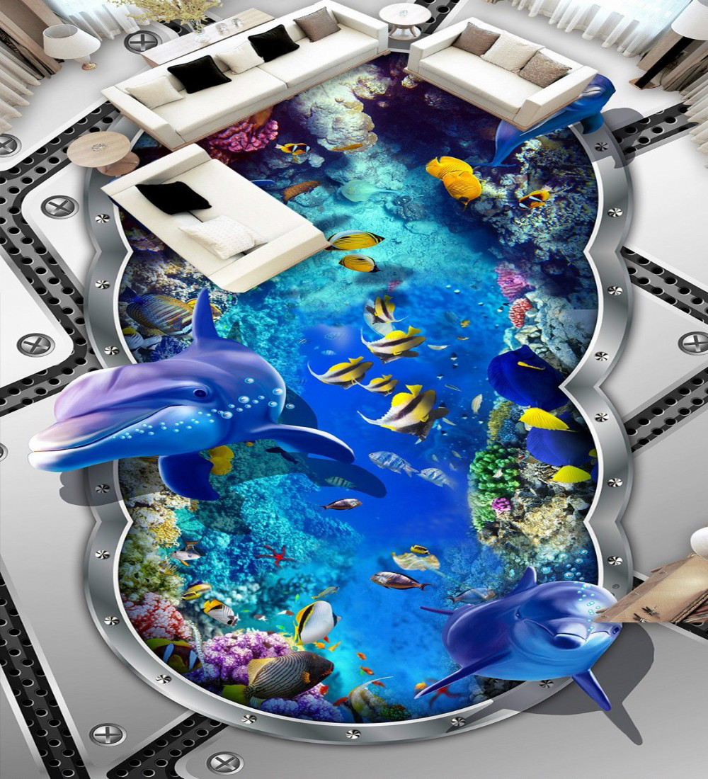 ФОТО Free Shipping 3D Underwater world dolphin metal drawing floor painting office kitchen living room floor wallpaper mural