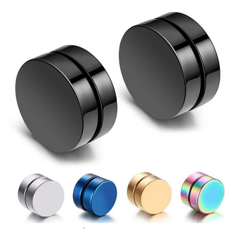 1 Piece Mens Magnetic Stud Earrings Korean Hiphop Rock Titanium Non Pierced Earrings Women Black 8mm 10mm 12mm Earring Clips