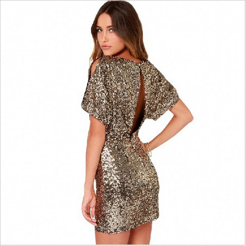 2019 Women dress sheath sexy night club sequined gold color round neck hot dress European and American style for girls