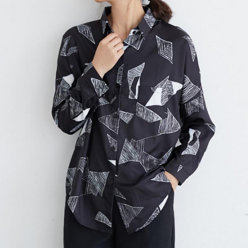 Triangle géométrique imprimé chemisier femme printemps noir blanc chemise femme mode coréenne bureau femmes hauts et chemisiers 2019