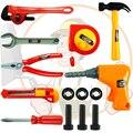 14 pçs/set bebê educacional plastic toys ferramentas de carpinteiro ferramenta de jardim kit ferramentas do brinquedo para meninos crianças construção de ferramentas de carpinteiro