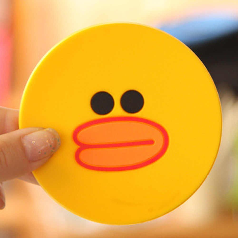 1 PC Bonito Dos Desenhos Animados de Espessura PVC Placemat Antiderrapante-resistência Coaster Isolamento Pad Silicone Criativo Material de Casa