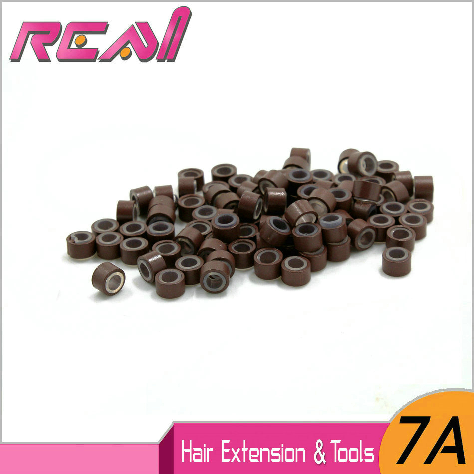 FREE SHIPPING 2000pcs 5.0mm Aluminium+Silicone Micro Rings Links Beads for Feather Hair Extensions 200pcs/JAR ...