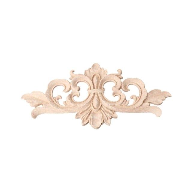 Drewno Rzeźbione Onlay Aplikacja Ramki Dekoracji Bez Farby Do Domu Meble Rogu ściany Szafka Drzwi Dekoracji Rzemiosło W Drewno Rzeźbione Onlay