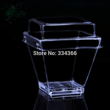 100pcs/lot 2OZ Hard Plastic Disposable Clear Dessert Cake Cup With Lid Small 60ml Mini Cube Cup Fit Party Wedding Party