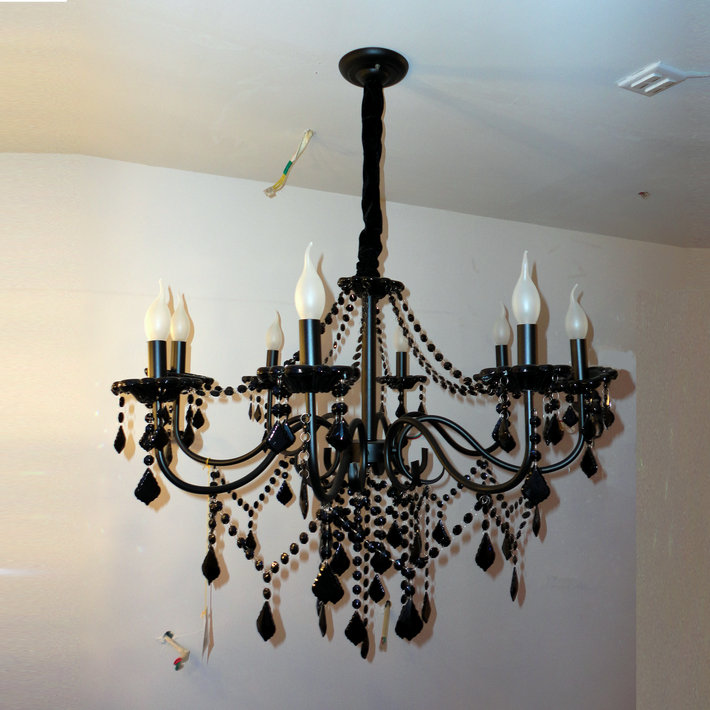 Vintage Black Crystal with chain Chandelier Light Fixture ...