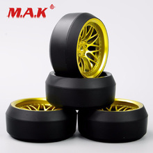 4Pcs/Set 1/10 Scale RC Drift Tires and Wheel Rims with 6mm Offset 12mm Hex fit Car Model Toys Accessory