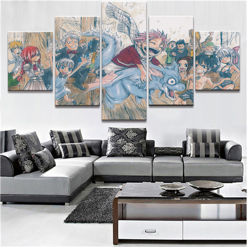 HD Print Large 5 Piece  Fairy Tail Paintings on Canvas Wall Art