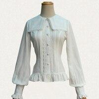 Size S XL 2016 Autumn Women Lantern Sleeve Sailor Collar Shirts Body Line Lace Elegant Princess