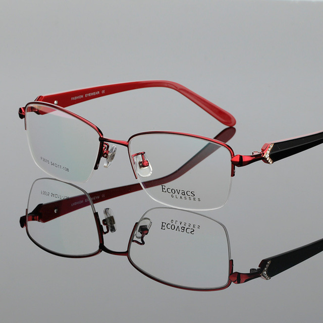 Ma'am Business Affairs Will Face Half Frame Myopic Eye Picture Frame Thick Mirror Legs Alloy Fashion Presbyopic Glasses F 3075