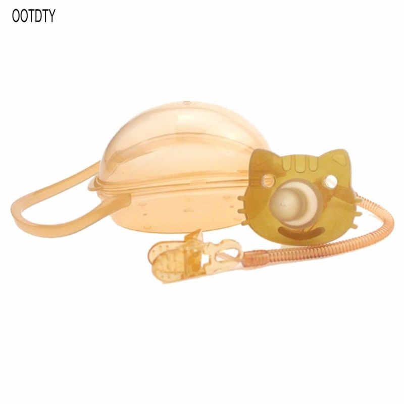 Bebé niños niño niña silicona gato chupete chupón pezón juguete Correa cadena Clip almacenamiento caja soporte recién nacido regalos