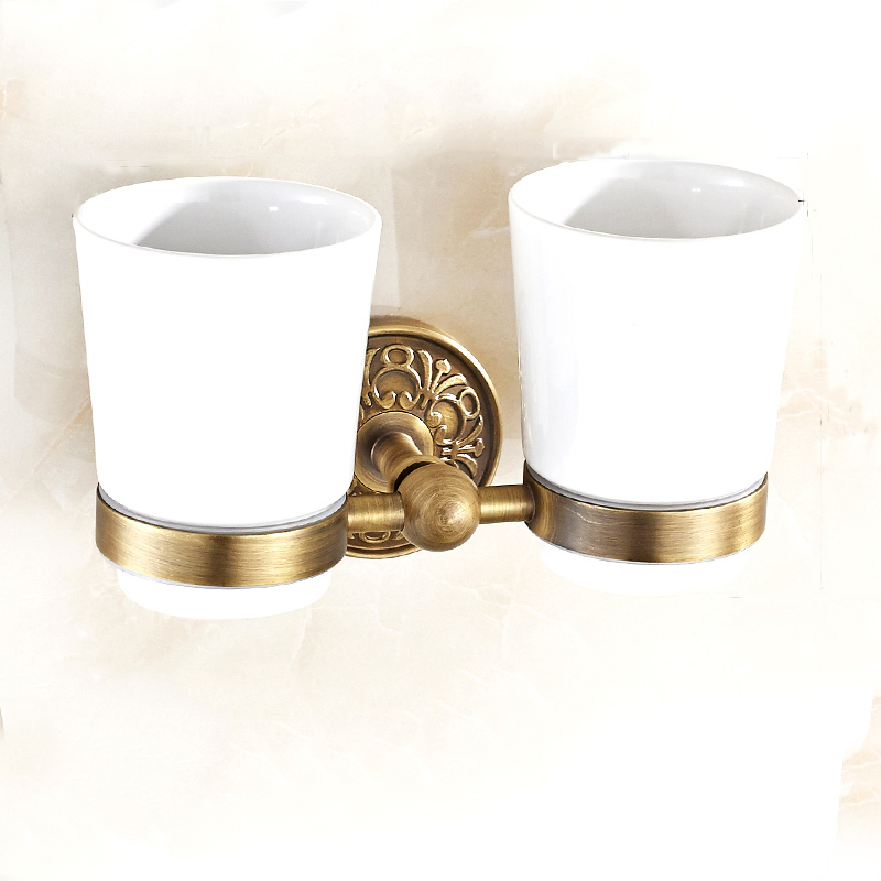 ФОТО Square Toothbrush Holder Bathroom Accessories Tumble Holder Tooth Brush Holder In Brass Antique  With Ceramics Cup