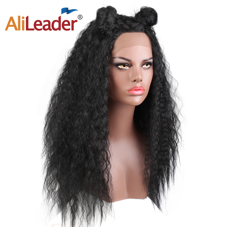 Alileader Kinky Straight Synthetic Hair Wigs Lace Front Hair Wig For Women Heat Resistant Natural Black Long 24 Inch