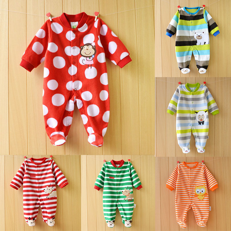 Unisex Newborn Baby Clothes Striped Polka Dots Baby Rompers Polar Fleece Newborn Boys Jumpsuits Animal Style Baby Girl Romper unisex baby boys girls clothes long sleeve polka dot print winter baby rompers newborn baby clothing jumpsuits rompers 0 24m