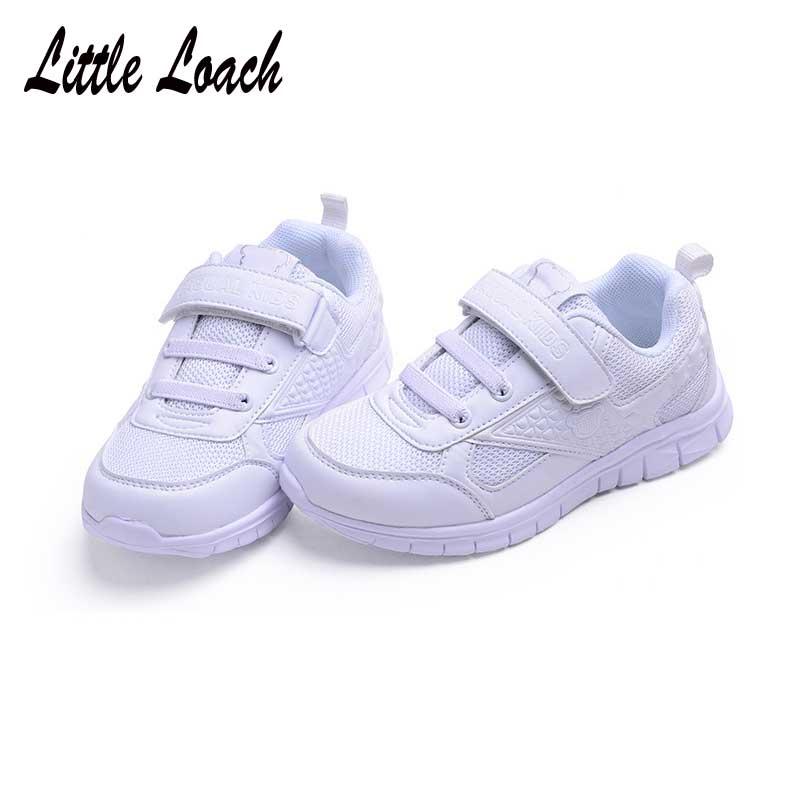 Teenage School Sport Shoes Kids Trainers Walking Running Light Wear-resistant Tennis Sneakers Boys Girls White Shoes Size 26-37