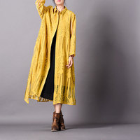 New Woman Embroidered Hollow out Long Coat Outerwear Ladies Solid Color Irregular Length Coat Female Jacquard Topcoat