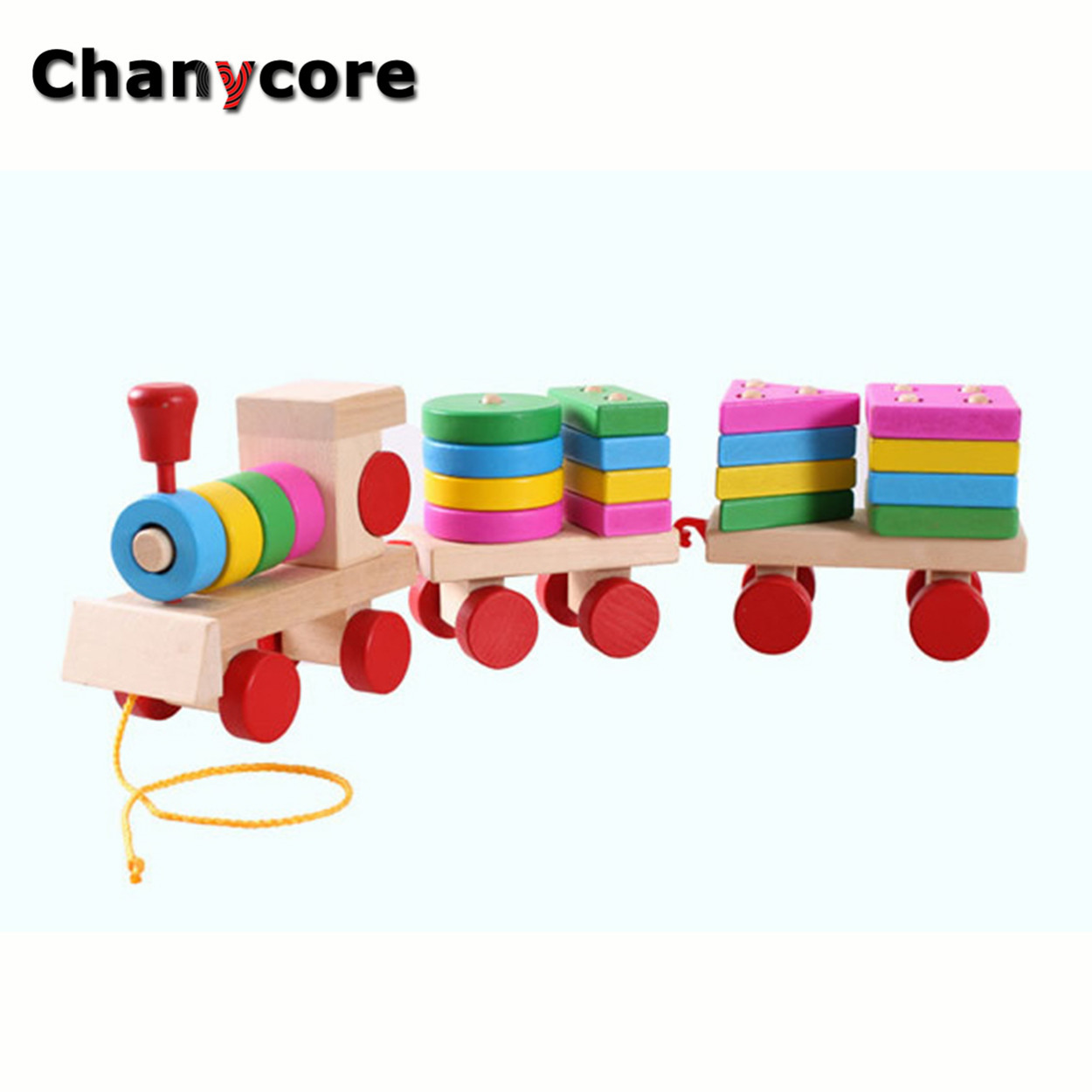 Baby Learning Educational Wooden Toys Geometric Shape Blocks Column Board Train Sorting Matching ydl Montessori Kids Gifts 4124