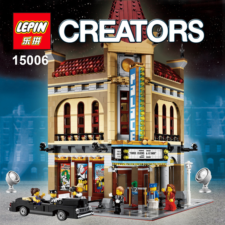 Free shipping LEPIN 15006 Palace Cinema Model Building Blocks set Bricks Toys Compatible with 10232 For Children Toys Gift dhl free shipping lepin 16002 pirate ship metal beard s sea cow model building kits blocks bricks toys compatible legoed 70810
