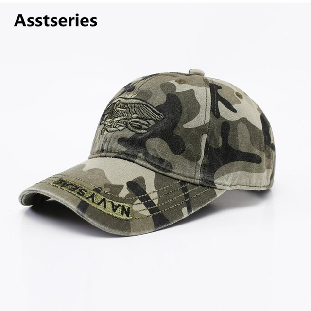 ab7e127db25 Asstseries New Fashion Summer Men s Navy Seal Adjustable Camouflage Cotton  Baseball Cap Sun Hat Outdoors Casual Snapback Caps