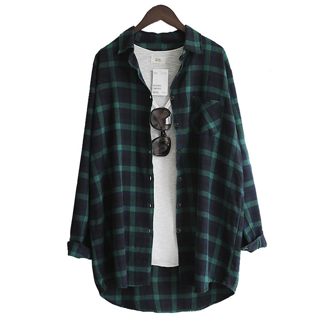 Blusa de mujer Camisa suelta Casual Plaid Camisas de manga larga Tops de gran tamaño Blusas para mujer Rojo Verde 2021 2