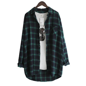 Image 2 - Vogorsean Katoen Vrouwen Blouse Overhemd Plaid 2020 Losse Casual Plaid Lange Mouwen Grote Maat Tops Womens Blouses Rood/Groen