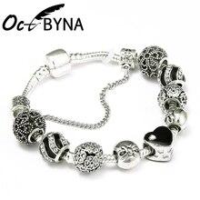 Octbyna классические серебряные подвески бусины браслет цепочка и браслет с черным сердцем Шарм бренд браслет для женщин ювелирные изделия подарок