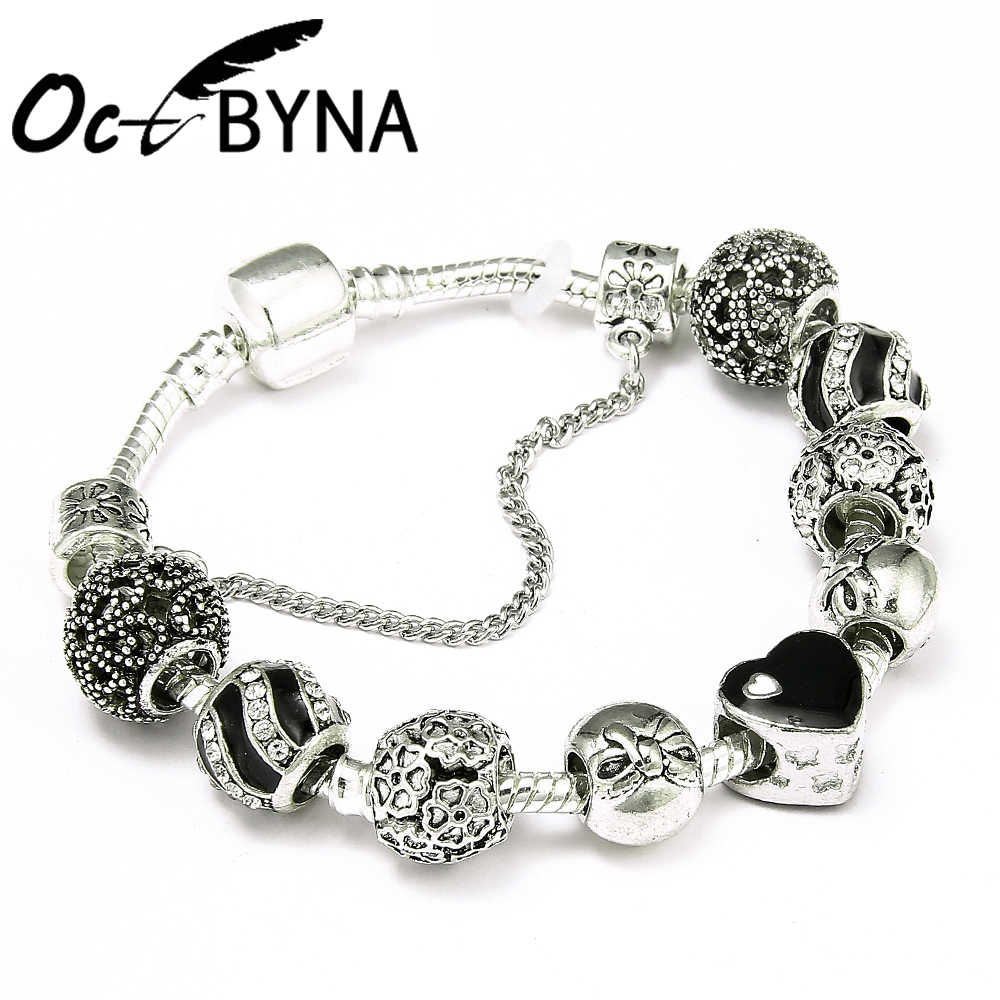 Octbyna Classic Silver Charms Beads Chain Bracelet & Bangle With Black Heart Charm Brand Bracelet For Women Jewelry Gift