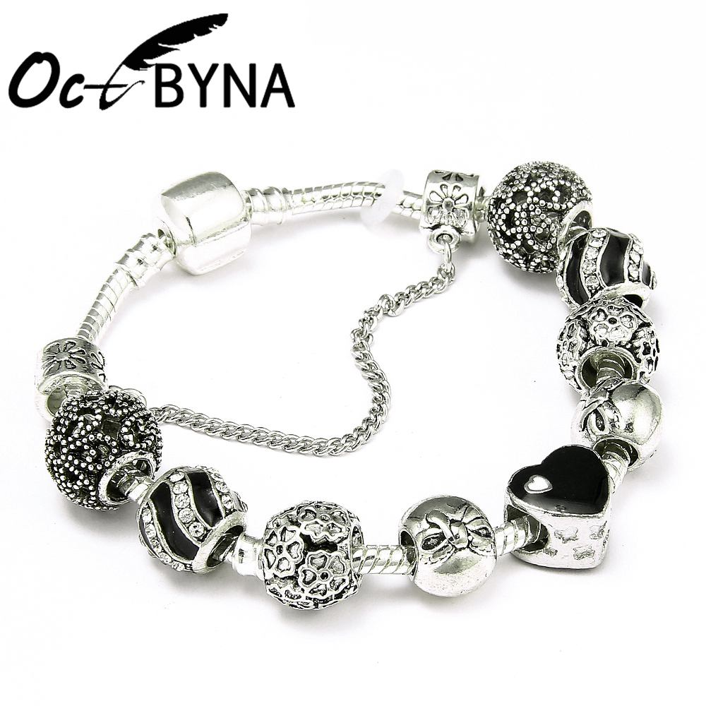 Octbyna Antique Silver Charms Beads Fit Original Pandora Bracelet & Bangle with Black Heart Charm Bracelet for Women Jewelry