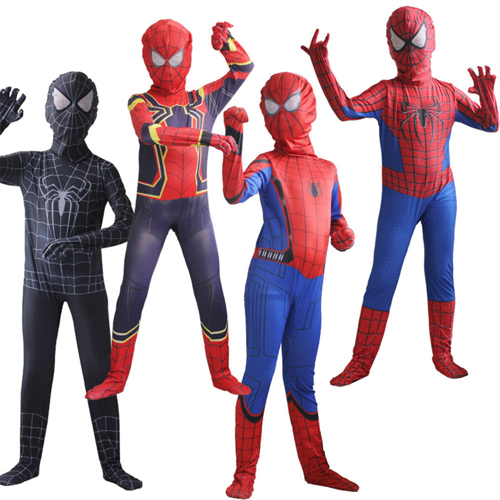 Cosplay Avengers Spider-Man clothing for boys Children's jumpsuit zentai Hero Full Body Suit Halloween party costume