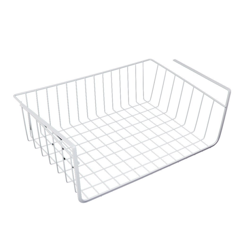 Best Storage Space Under Shelf Basket For Storage Bookcase Closet Kitchen - White maquina de coser de mano