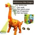 35 cm grama elétrico Wan Dragão Brinquedo modelo animal simulação asas walking vai botar ovos de dinossauro cantar projeção Brinquedos do miúdo presente