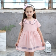 Summer Dress 2019 Baby Girl Preppy Style Dresses Kids Birthday Party Dress Costume Children Girls Cotton Solid Gift Clothing