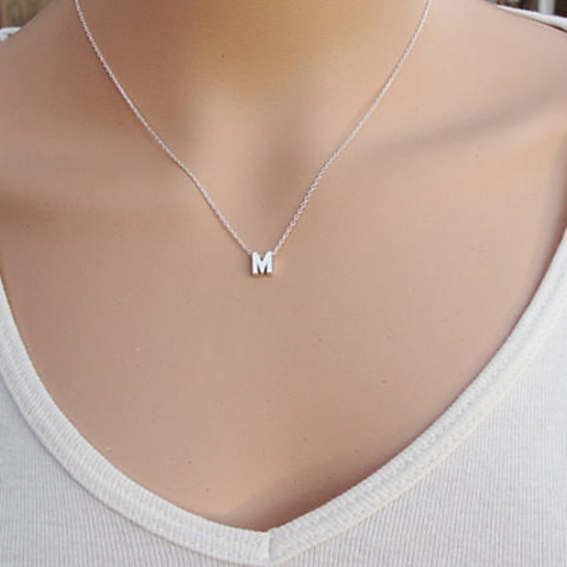 Fashion silver initial charms necklace pendant metal letters for fashion silver initial charms necklace pendant metal letters for jewelry personalized cut letters single m necklaces gold chain in chain necklaces from aloadofball Images