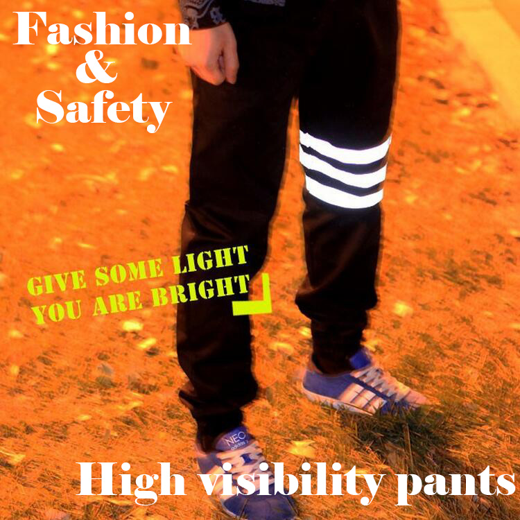 Pants baggy hip hop Casual night running biker 3m reflective pants parkour jogger outdoor casual harem cargo trousers