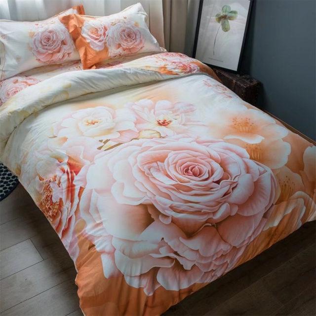 Orange Floral Chinese Rose Bedding Set Queen Size Bed Sheets Duvet Cover  Sets 100% Cotton Print Home Textile