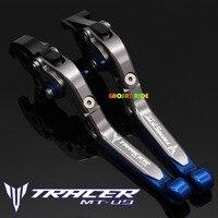 Laser Logo MT 09 Blue Titanium CNC Adjustable Folding Motorcycle Brake Clutch Levers For Yamaha FJ