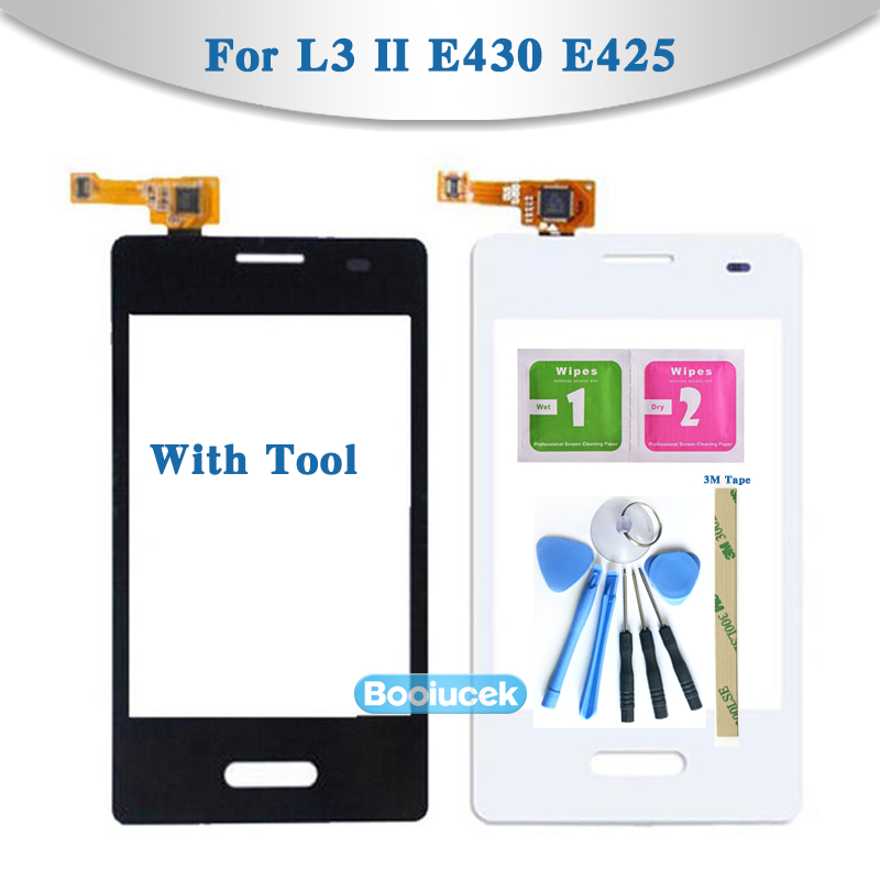 high Quality 3.2 For LG Optimus L3 II E430 E425 and Dual E435 Touch Screen Digitizer Sensor Outer Glass Lens Panel Replacement image