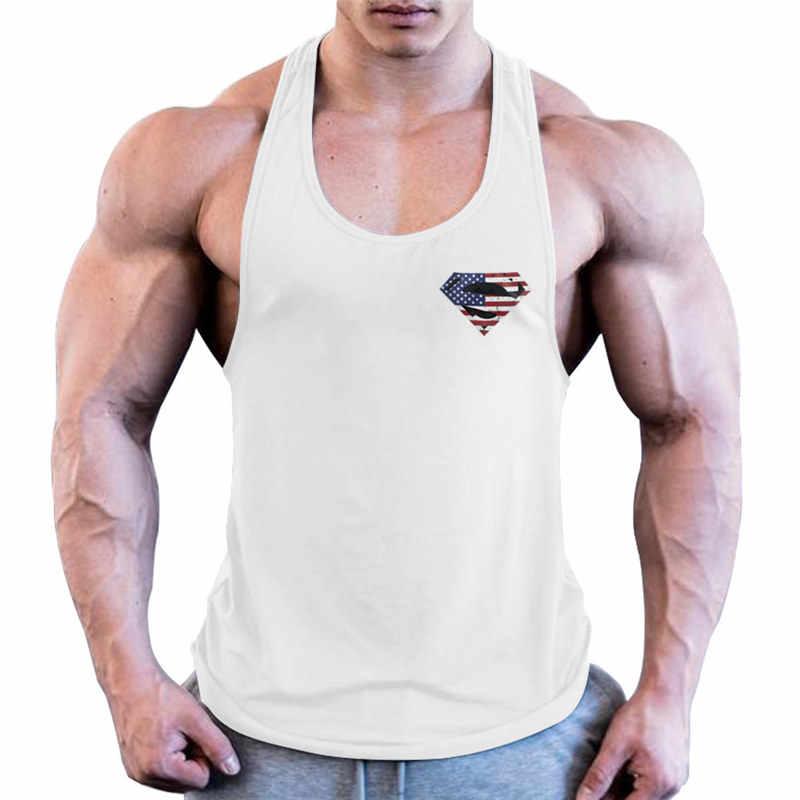 สินค้าใหม่เพาะกาย stringer Tank Top Superman โรงยิมเสื้อผู้ชายฟิตเนส Vest Singlet กีฬาออกกำลังกาย tanktop