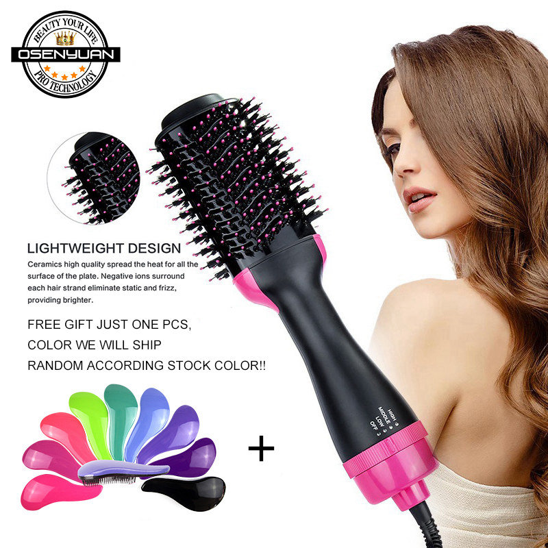 Big Stock!1000W One Step Hair Dryer Brush 2 In 1 Hair Straightener Curler Comb Electric Blow Dryer Comb Hair Brush Roller Revlon Pro Collection Salon One-Step Hair Dryer and Volumizer