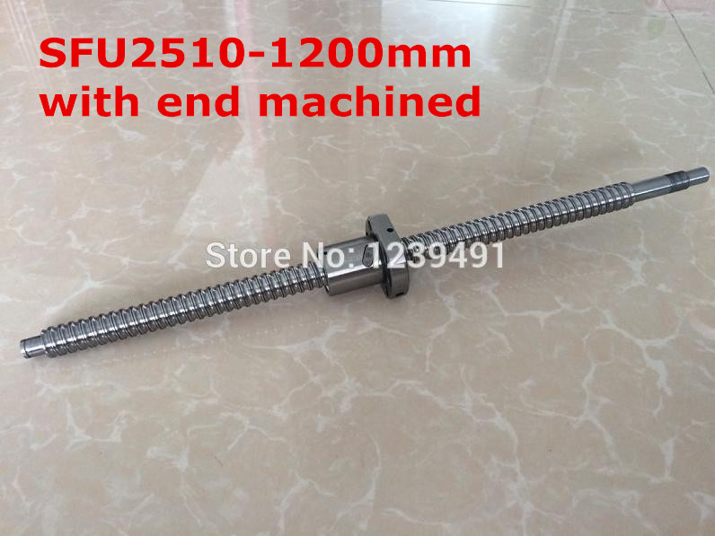 1pc SFU2510- 1200mm ball screw with nut according to BK20/BF20 end machined CNC parts spring according to humphrey
