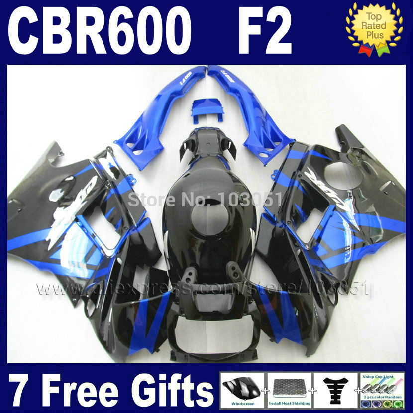 7gifts Motor fairings kit for Honda blue black 1993 1994 CBR 600 F2 1991 1992 CBR600 F 91 92 93 94 CBR600 F2 fairing set+ tank
