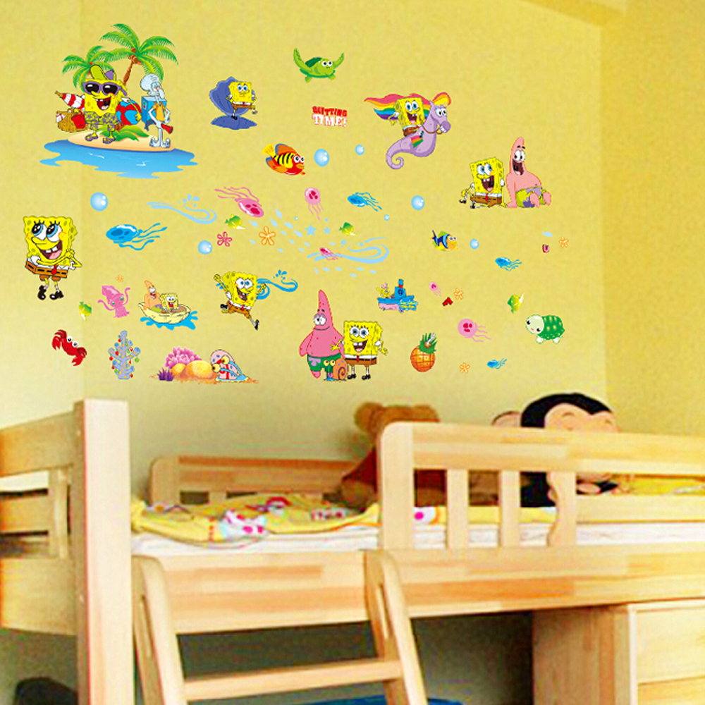 Kids bedroom wall stickers - 3d Children S Room Spongebob Wall Stickers Removable Kids Bedroom Wall Poster Nursery Wall Decals China