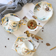 English Ceramic Coffee Cup Jungle Animal Pattern Tea European Saucer Set Simple Afternoon with Spoon