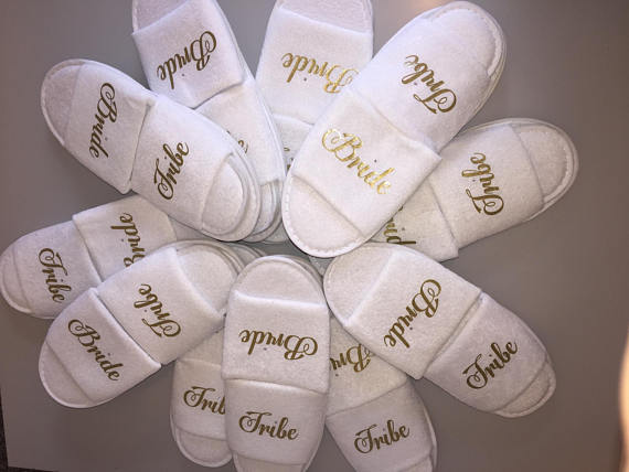 personalized glitter bride tribe spa slippers bridesmaid bridal shower slippers wedding birthday party favors company gifts in party favors from home