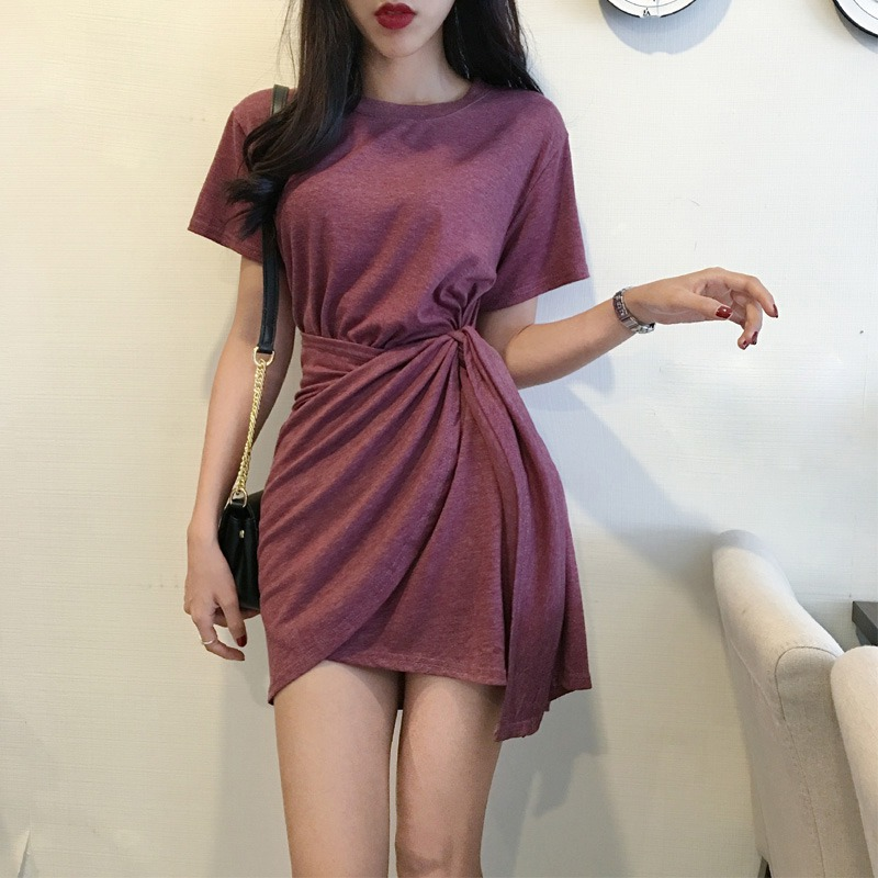 Women's Korean Style Slim O-Neck Short Sleeve Solid Casual Lace Up Asymmetrical Dress Korean Dress платье