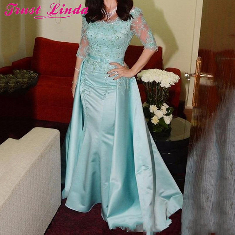 Light Blue Mother of the Bride Dresses Scoop Neck Half Sleeves Lace Appliques Beaded Floor Length Satin Detachable Prom Gowns