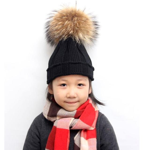 hat 2017 baby bonnet Winter Kids baby Raccoon Fur Hats Knitted Wool Hemming  Hat woolen caps 2a71830e172